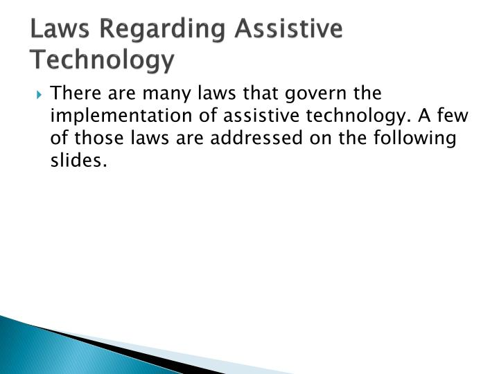 Laws regarding assistive technology