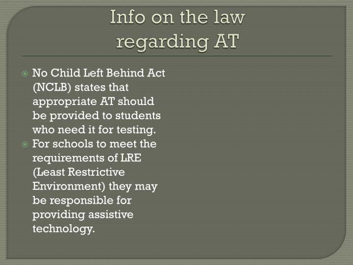 Info on the law regarding at