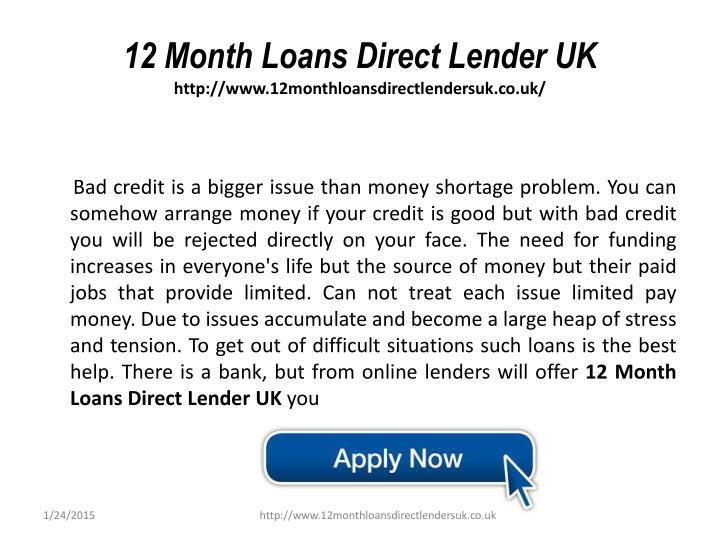12 Month Loans Direct Lender UK
