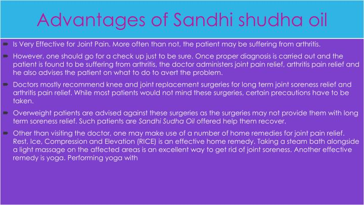 Advantages of sandhi shudha oil