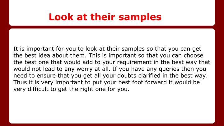 Look at their samples