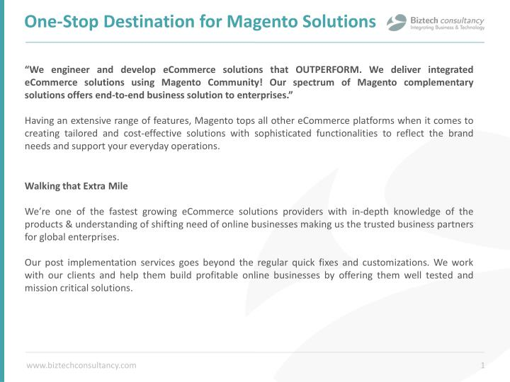 One stop destination for magento solutions