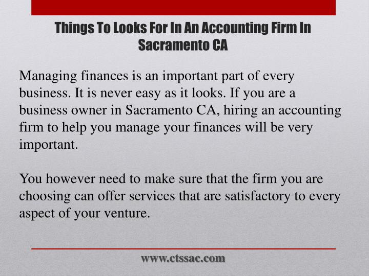 Managing finances is an important part of every business. It is never easy as it looks. If you are a business owner in Sacramento CA, hiring an accounting firm to help you manage your finances will be very important.