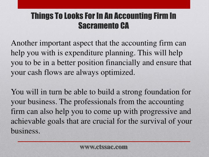 Another important aspect that the accounting firm can help you with is expenditure planning. This will help you to be in a better position financially and ensure that your cash flows are always optimized.