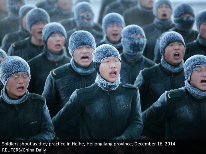 Soldiers shout as they practice in Heihe, Heilongjiang province, December 16, 2014. REUTERS/China Daily