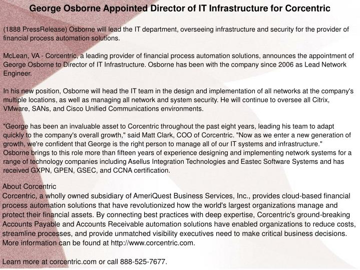 George Osborne Appointed Director of IT Infrastructure for Corcentric