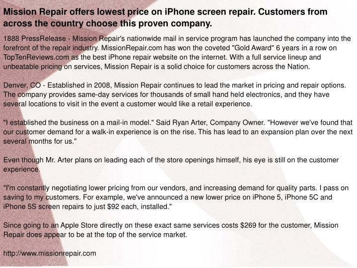 Mission Repair offers lowest price on iPhone screen repair. Customers from across the country choose...
