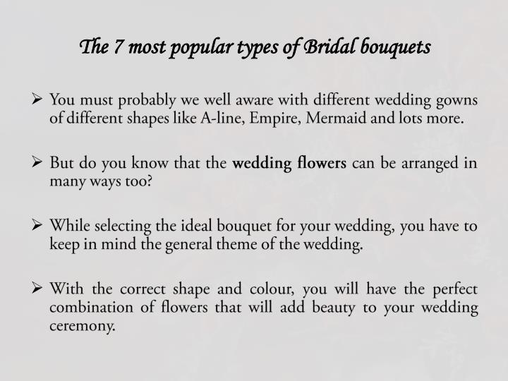 The 7 most popular types of Bridal bouquets
