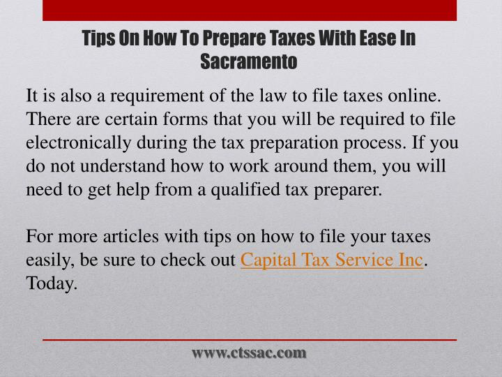 It is also a requirement of the law to file taxes online. There are certain forms that you will be required to file electronically during the tax preparation process. If you do not understand how to work around them, you will need to get help from a qualified tax preparer