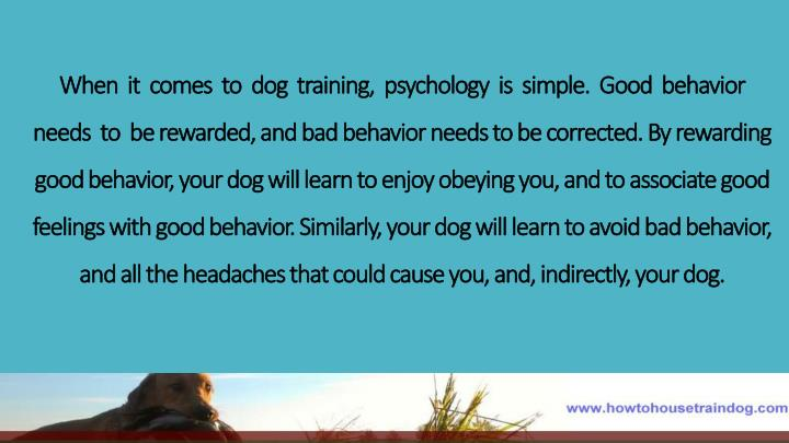 When  it  comes  to  dog  training,  psychology  is  simple.  Good  behavior  needs  to  be