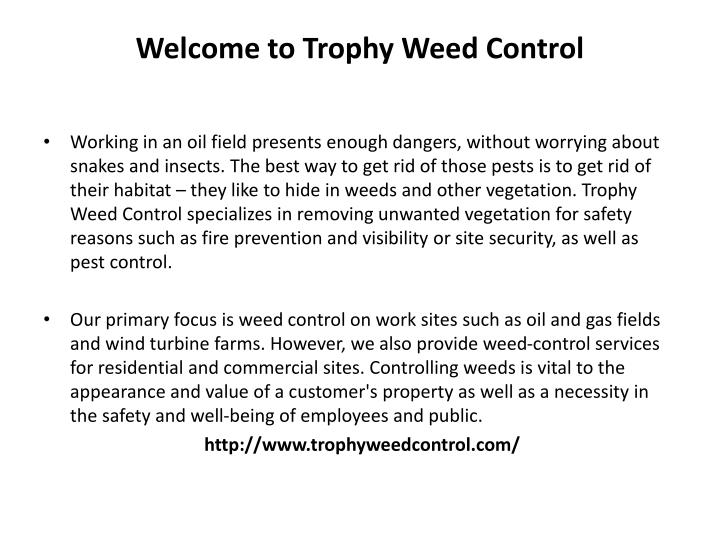 Welcome to Trophy Weed Control