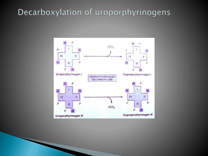 Decarboxylation of uroporphyrinogens