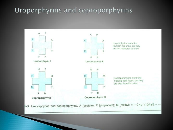 Uroporphyrins and coproporphyrins