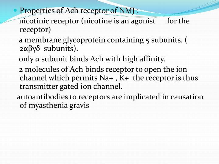 Properties of Ach receptor of NMJ :