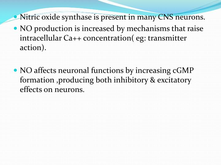 Nitric oxide synthase is present in many CNS neurons.
