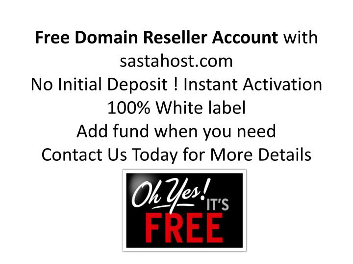 Free Domain Reseller Account