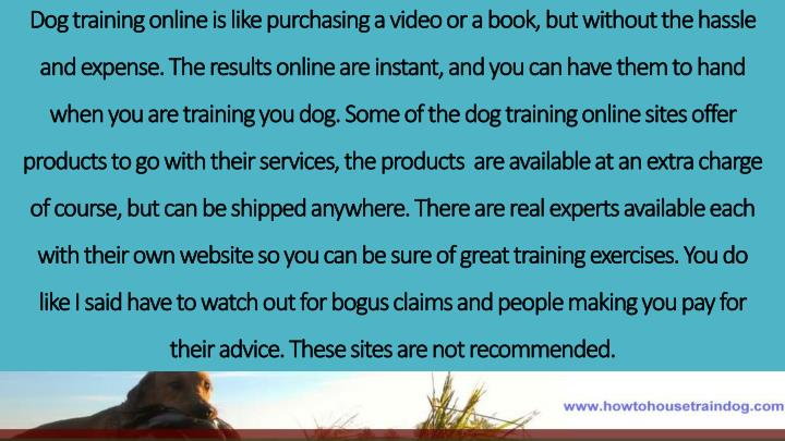 Dog training online is like purchasing a video or a book, but without the hassle and