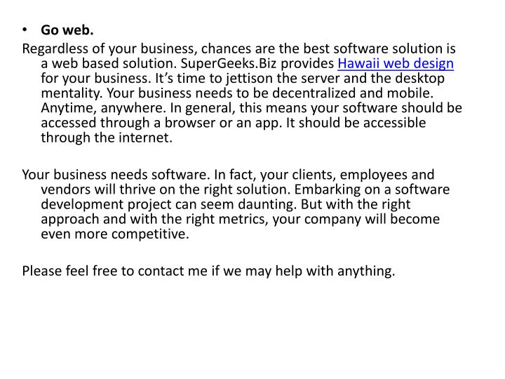 Go web.