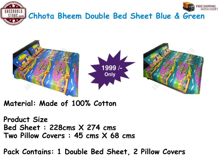 Chhota Bheem Double Bed Sheet Blue & Green