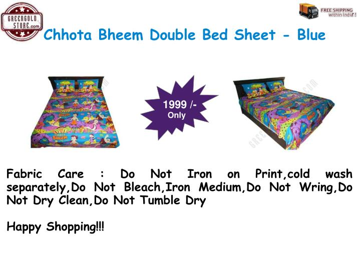 Chhota Bheem Double Bed Sheet - Blue