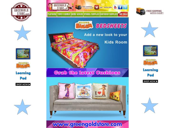 Chhota bheem bed sheets and cushions