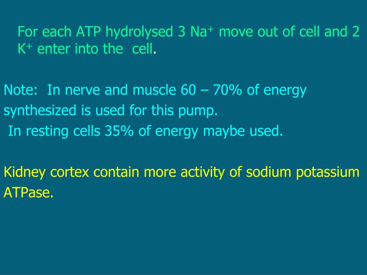 For each ATP hydrolysed 3 Na