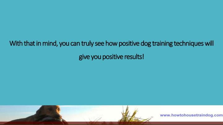 With that in mind, you can truly see how positive dog training techniques will give you