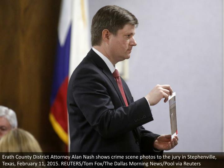 Erath County District Attorney Alan Nash shows crime scene photos to the jury in Stephenville, Texas, February 11, 2015. REUTERS/Tom Fox/The Dallas Morning News/Pool via Reuters