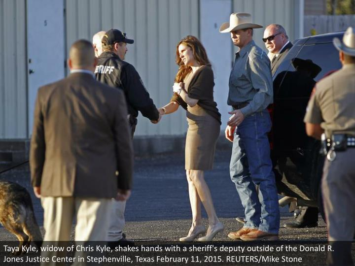 Taya Kyle, widow of Chris Kyle, shakes hands with a sheriff's deputy outside of the Donald R. Jones Justice Center in Stephenville, Texas February 11, 2015. REUTERS/Mike Stone