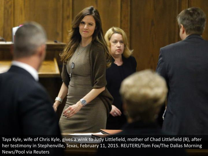 Taya Kyle, wife of Chris Kyle, gives a wink to Judy Littlefield, mother of Chad Littlefield (R), after her testimony in Stephenville, Texas, February 11, 2015. REUTERS/Tom Fox/The Dallas Morning News/Pool via Reuters