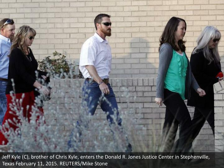 Jeff Kyle (C), brother of Chris Kyle, enters the Donald R. Jones Justice Center in Stephenville, Texas February 11, 2015. REUTERS/Mike Stone