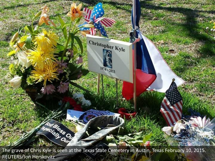 The grave of Chris Kyle is seen at the Texas State Cemetery in Austin, Texas February 10, 2015. REUTERS/Jon Herskovitz