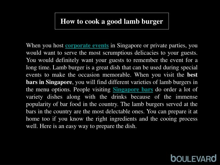 How to cook a good lamb burger