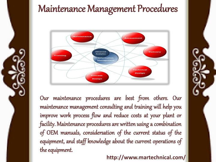 Maintenance management procedures
