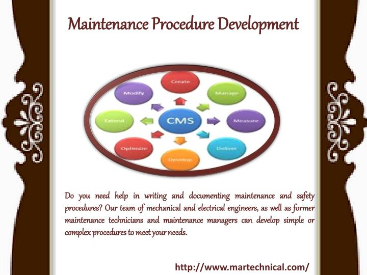Maintenance procedure development