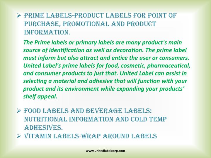 Prime labels product labels for point of purchase promotional and product information
