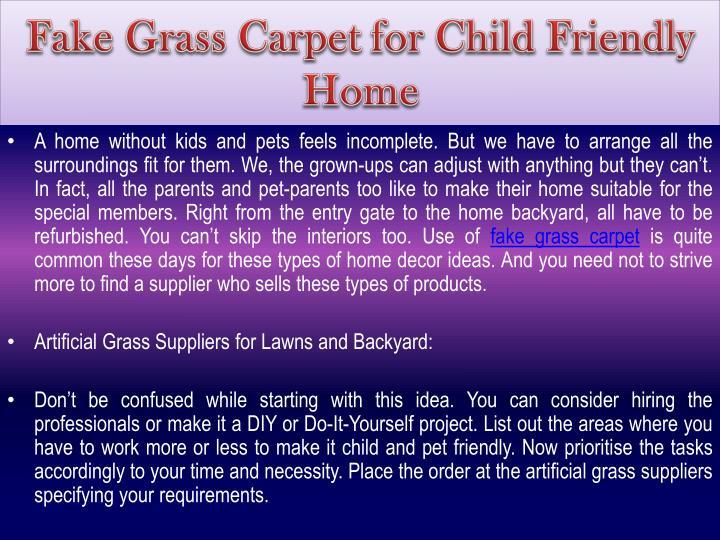 Fake Grass Carpet for Child Friendly Home