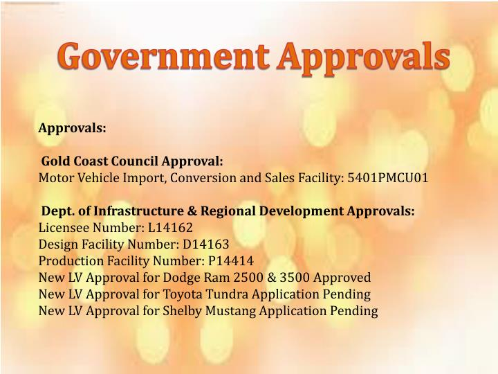 Government Approvals