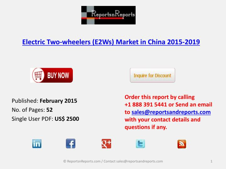 Electric two wheelers e2ws market in china 2015 2019