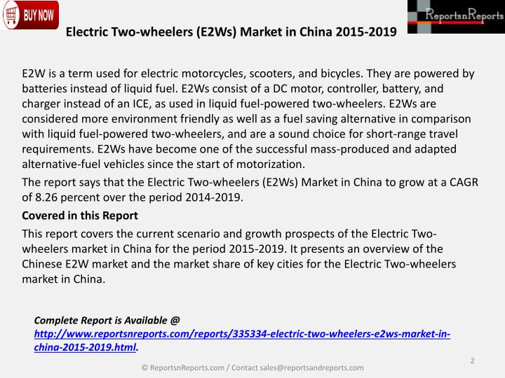 Electric two wheelers e2ws market in china 2015 20191