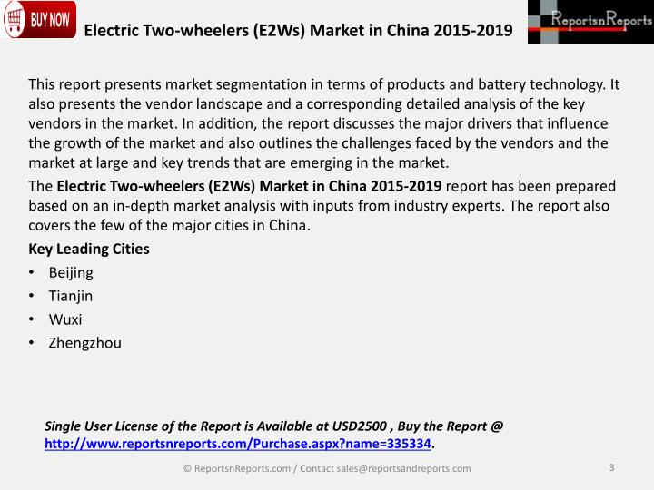 Electric two wheelers e2ws market in china 2015 20192