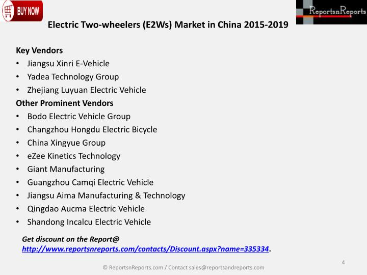 Electric Two-wheelers (E2Ws) Market in China 2015-2019