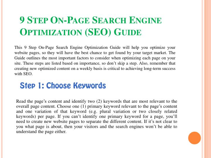 9 step on page search engine optimization seo guide