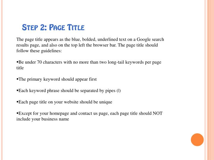 Step 2 page title