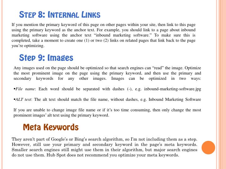 Step 8: Internal Links