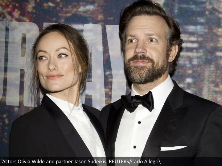 Actors Olivia Wilde and partner Jason Sudeikis. REUTERS/Carlo Allegri\