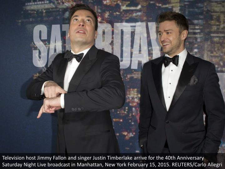 Television host Jimmy Fallon and singer Justin Timberlake arrive for the 40th Anniversary Saturday N...