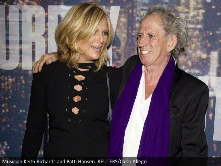 Musician Keith Richards and Patti Hansen. REUTERS/Carlo Allegri