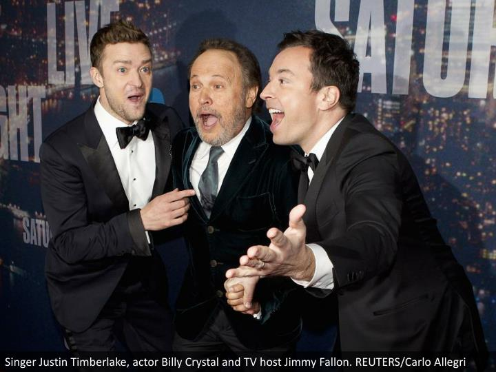 Singer Justin Timberlake, actor Billy Crystal and TV host Jimmy Fallon. REUTERS/Carlo Allegri