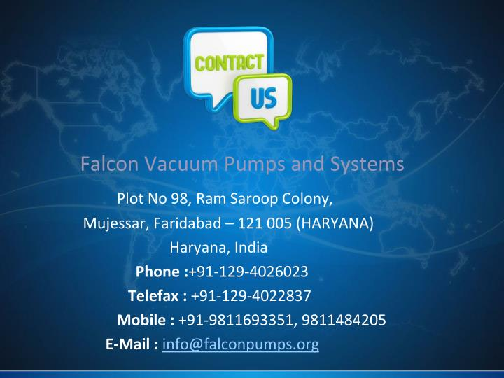 Falcon Vacuum Pumps and Systems